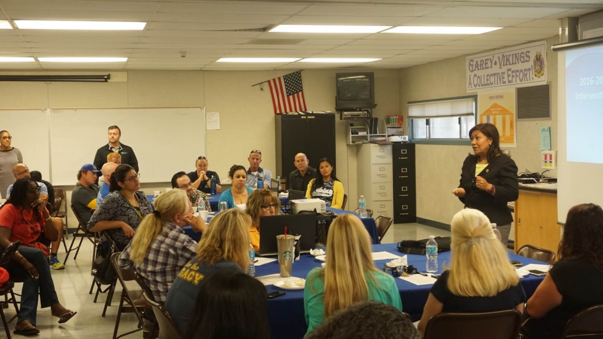 Torres Speaks to Teachers at Garey High School