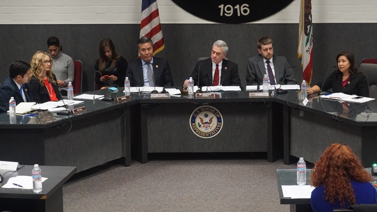 Photo of Rep. Torres asking questions at the field hearing
