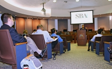 Photo of Rep. Torres Speaking at SBA Workshop