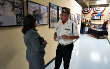 Rep. Torres speaks to a veteran during a veterans resource fair