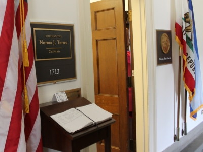 Rep. Torres Office Door at Longworth House Office Building